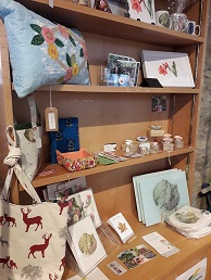 display of craft items including bags, ceramics and kitchenware